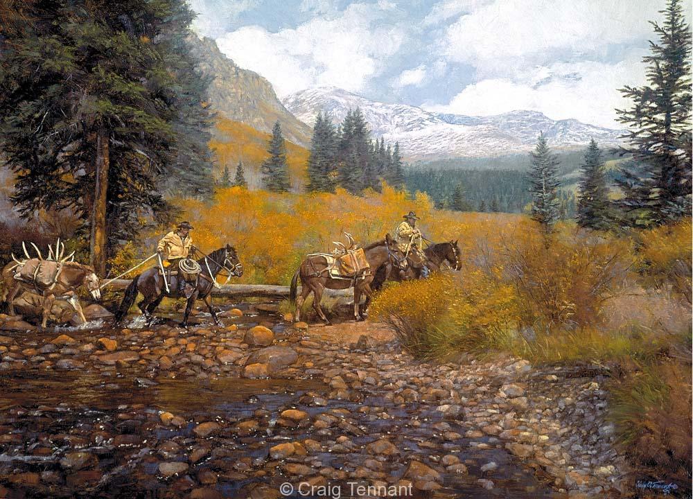 Boys From Lazy C - Craig Tennant - Craig Tennant Originals Hunting Art Mule Packing Art