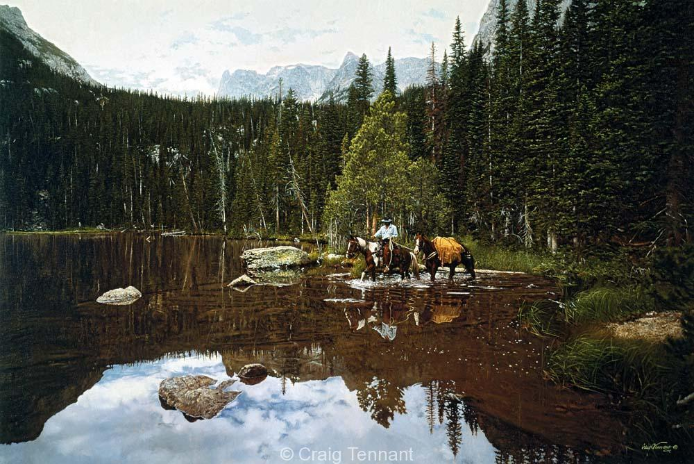 Crossing Fern Lake - Craig Tennant - Craig Tennant Originals Hunting Art Mule Packing Art