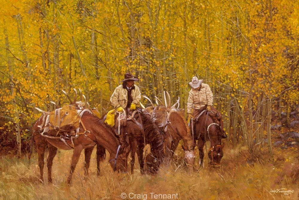 Doin` What Cowboys Do - Craig Tennant - Craig Tennant Originals Hunting Art Mule Packing Art
