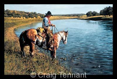 """Don`t Get Me Wet <br> <font color=""""red"""">Low Inventory</font> - Craig Tennant - Craig Tennant Originals Western Art Cowboy Art"""