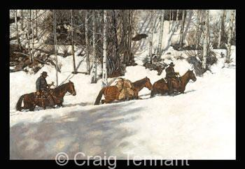 "Draggin` Our Feet<br>2006 Rocky Mountain Elk Foundation Featured Artist Print <br> <font color=""red"">Low Inventory</font> - Craig Tennant - Craig Tennant Originals Hunting Art Mule Packing Art"