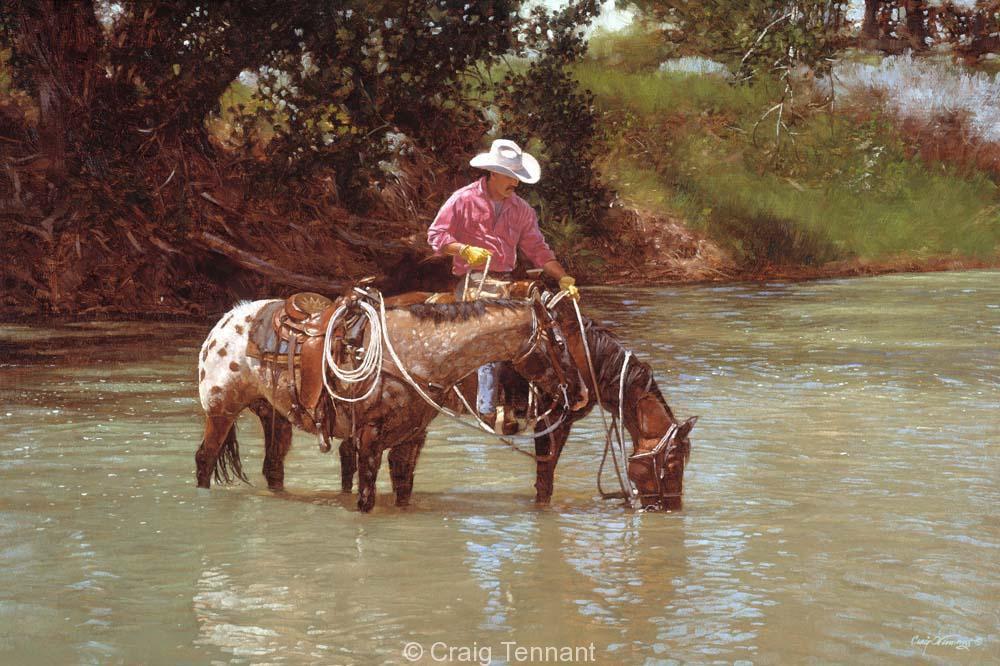 Drink Up - Craig Tennant - Craig Tennant Originals Hunting Art Mule Packing Art