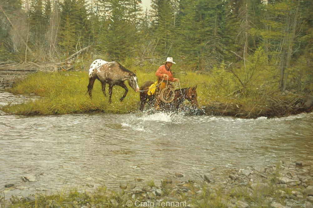 High Water - Craig Tennant - Craig Tennant Originals Hunting Art Mule Packing Art