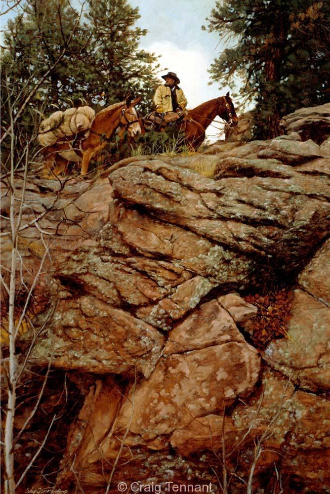High and Dry - Craig Tennant - Craig Tennant Originals Hunting Art Mule Packing Art