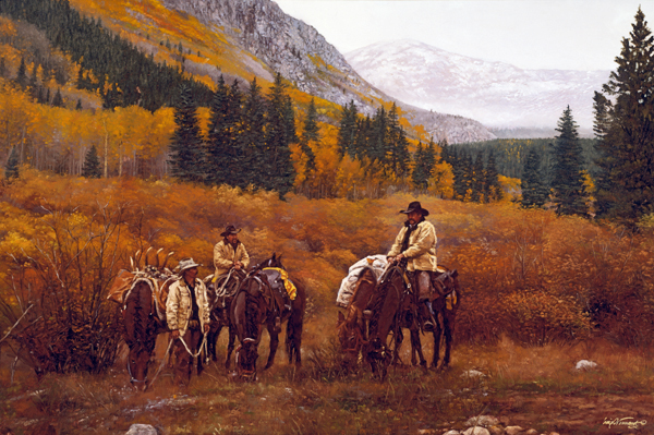 I`m Not Going Home<br>2007 Rocky Mountain Elk Foundation Featured Artist Print - Craig Tennant - Craig Tennant Originals Hunting Art Mule Packing Art