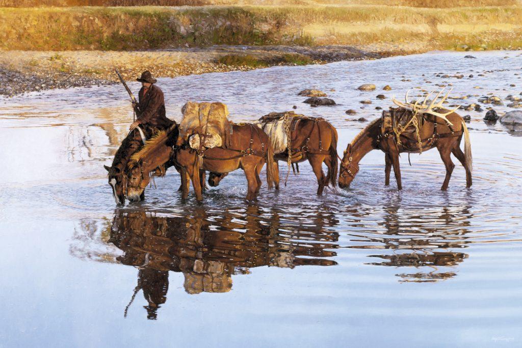 Morning Shot - Craig Tennant - Craig Tennant Originals Hunting Art Mule Packing Art