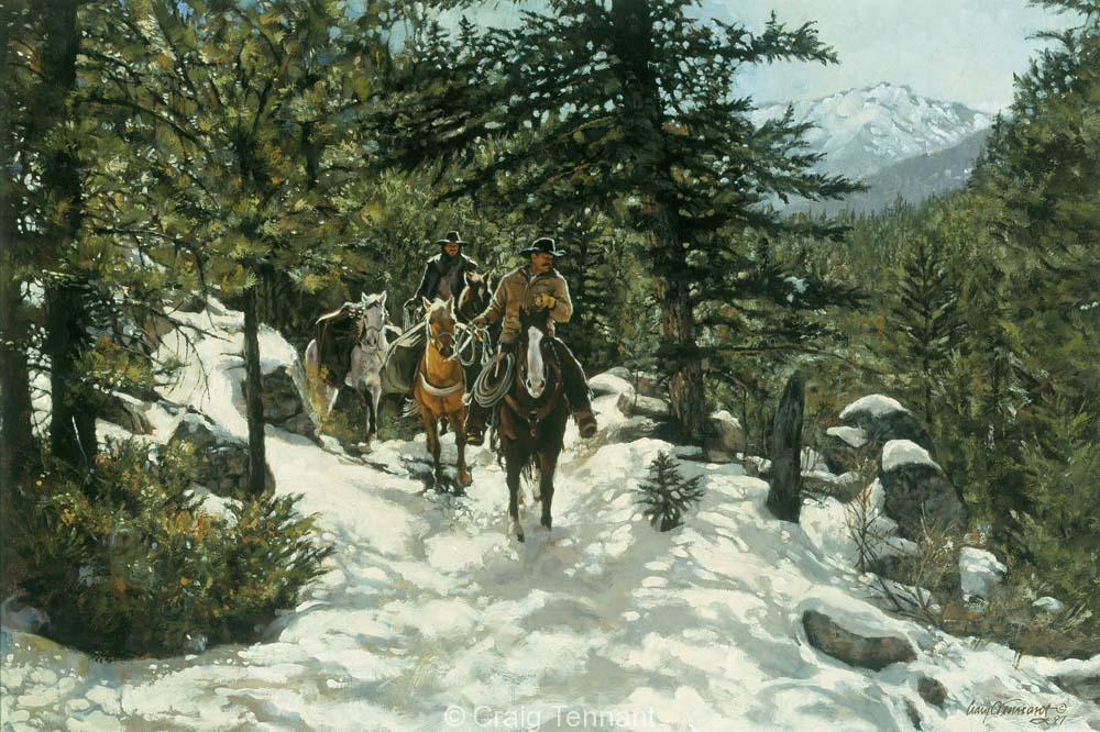 Slippin` and Slidin - Craig Tennant - Craig Tennant Originals Hunting Art Mule Packing Art