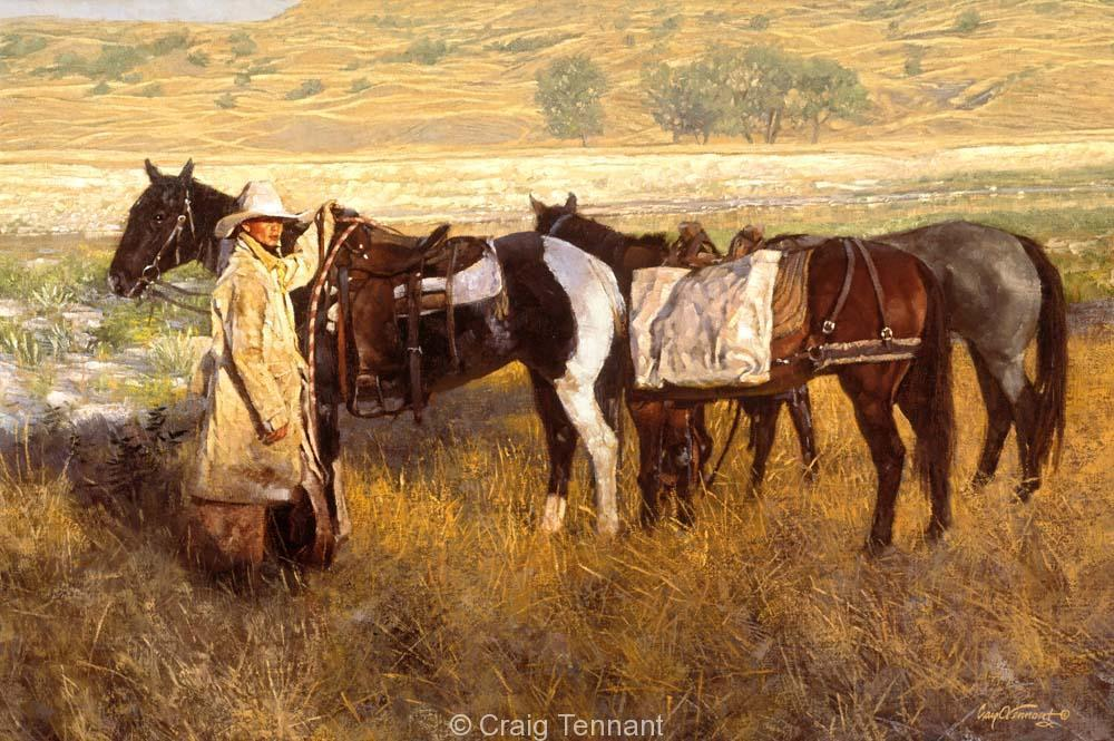 South Dakota Cowboy - Craig Tennant - Craig Tennant Originals Hunting Art Mule Packing Art