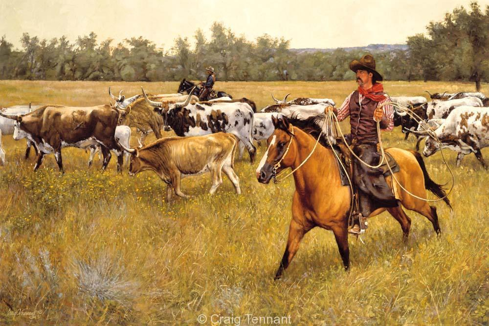 Under a Yellow Sky - Craig Tennant - Craig Tennant Originals Western Art Cowboy Art