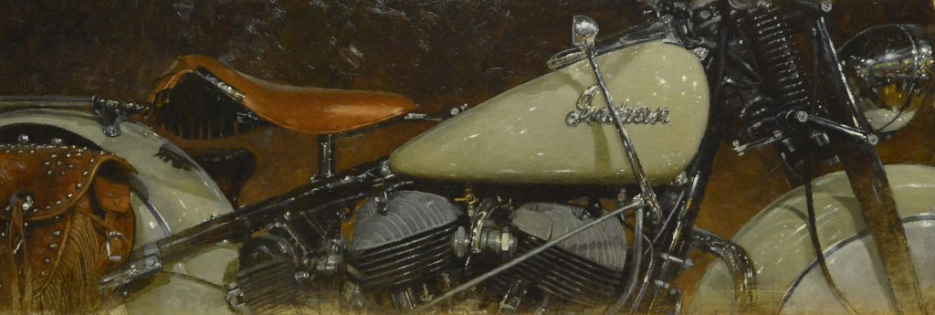 """Creamsicle"" 14"" x 40"" Original Oil on Linen by Craig Tennant Indian Motorcycle"