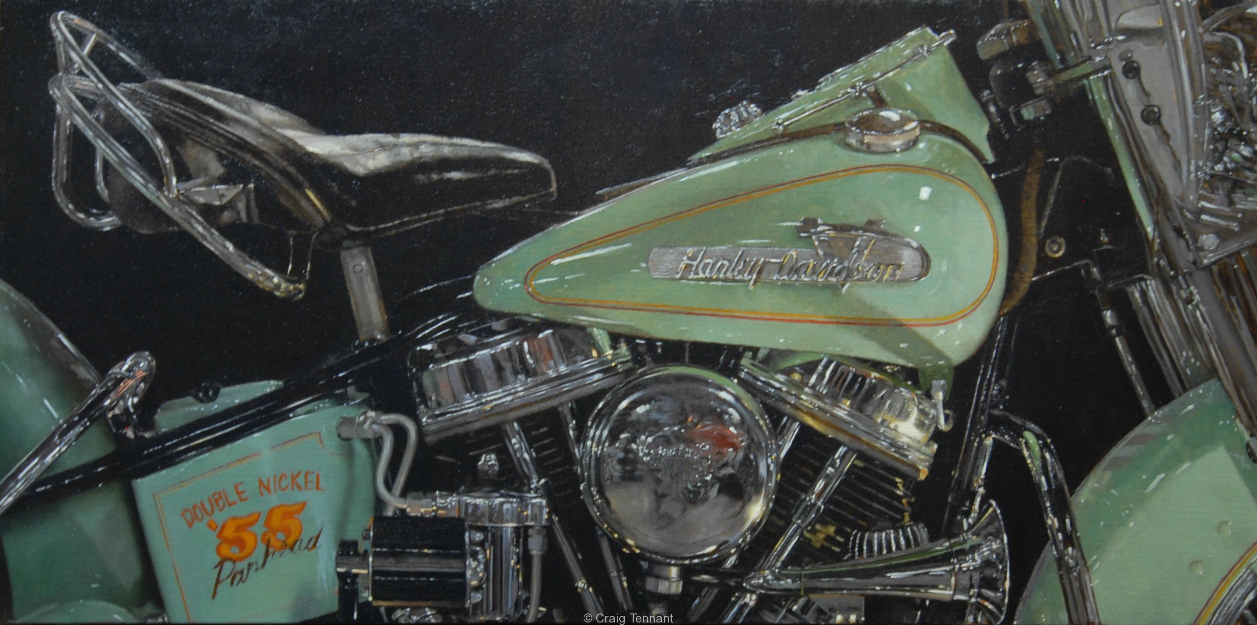 """Double Nickel"" 20"" x 40"" Original Oil Painting on Linen by world renowned western artist Craig Tennant Harley Davidson Motorcycle 55 panhead"