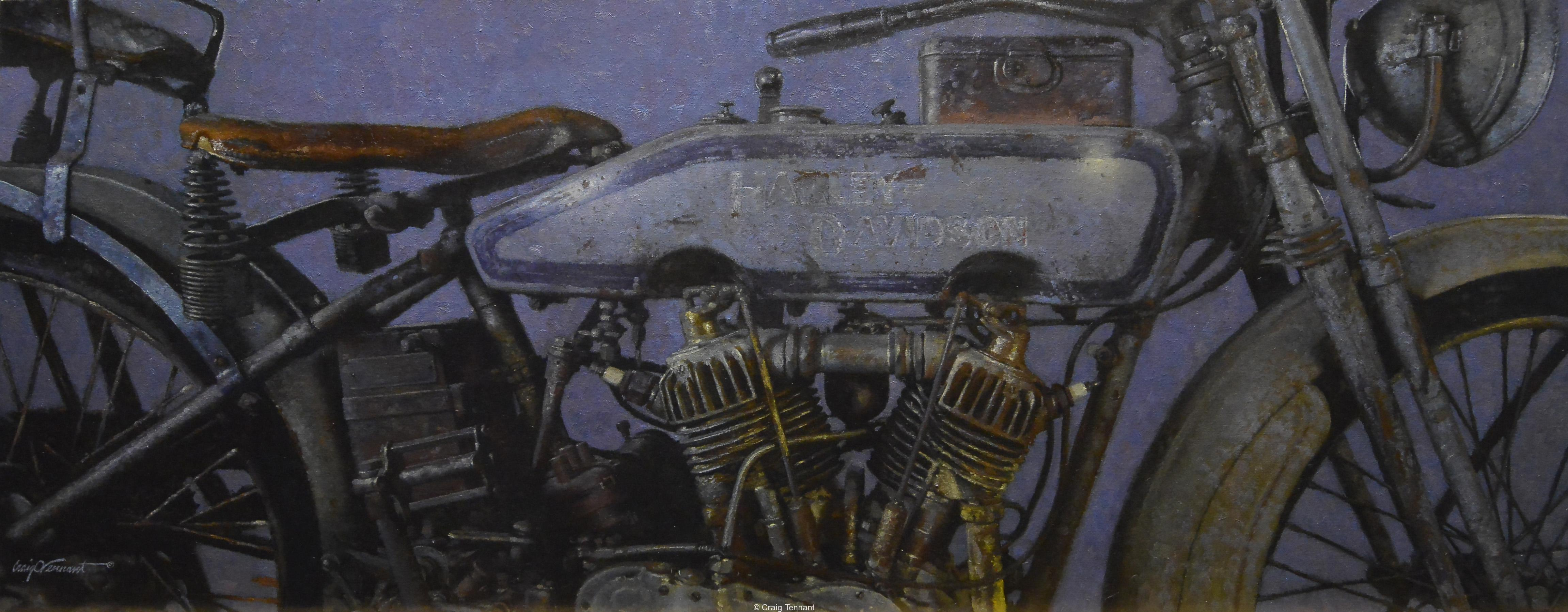 """Fading Memories"" 20"" x 50"" Original Oil Painting on Linen by Craig Tennant Harley Davidson Motorcycle Vintage"