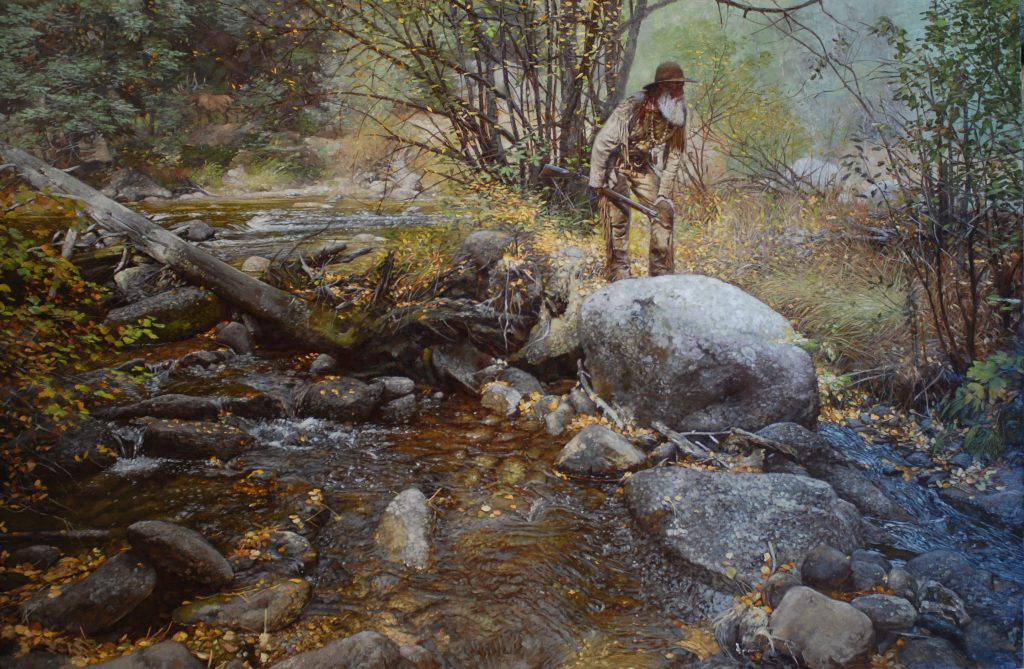 """He's Close"" 40"" x 60"" Original Oil Painting on Linen by Craig Tennant Western Landscape Mountain Man"