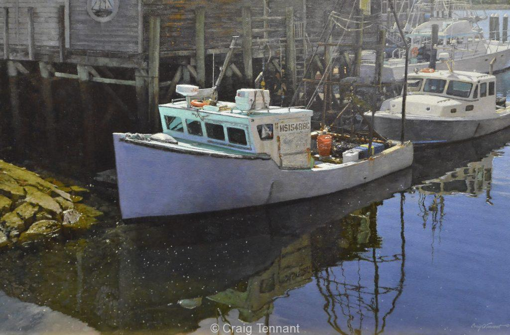 """MS 15 at Rest"" 24"" x 36"" Original Oil Boat Painting by Craig Tennant"