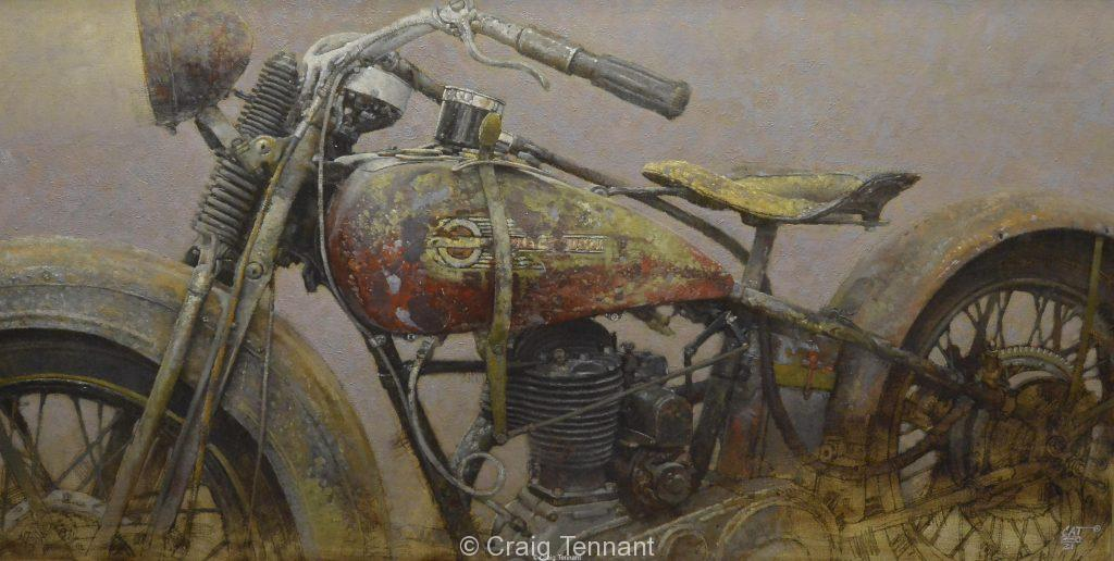 """Patina Plus"" 26"" x 50"" Original Oil Painting On Linen by world-renowned western artist Craig Tennant Harley Davidson Motorcycle"