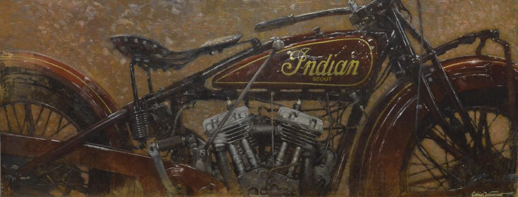 """Red Rider"" 16"" x 40"" Original Oil Painting on Linen by Craig Tennant Red Indian Scout Motorcycle"