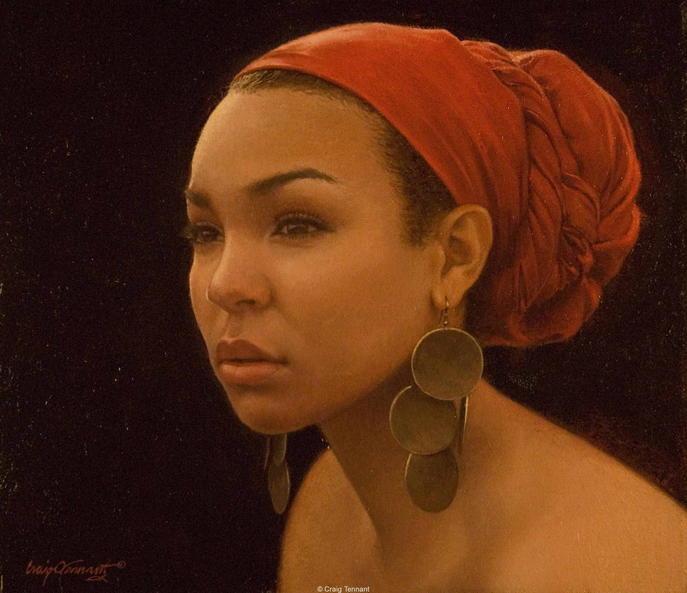 """Miss Shawna"" Oil on Linen by Craig Tennant African American Young Woman"