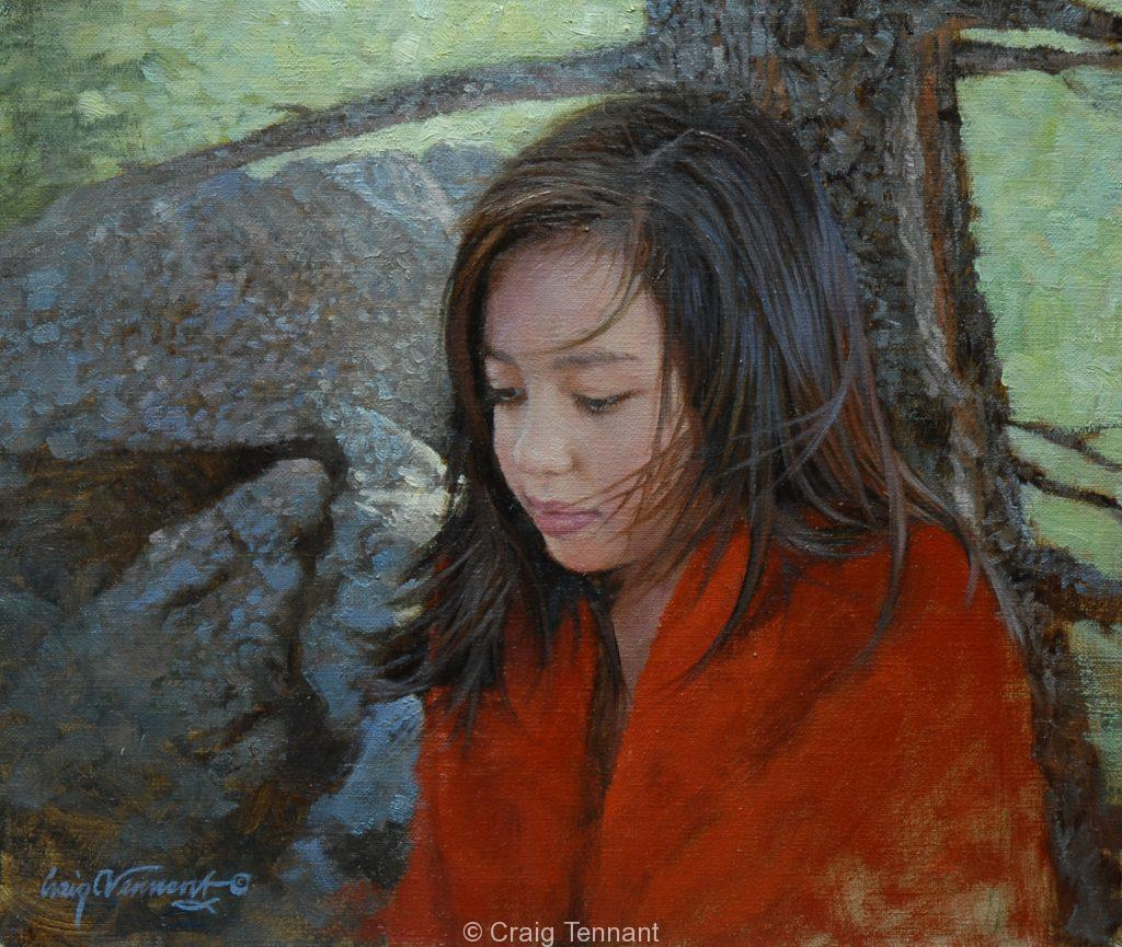 """Sierra"" 12"" x 14"" Original Oil on Linen by Craig Tennant Native American Young Girl Portrait"